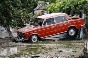 Russia floods: A stranded car in Krymsk