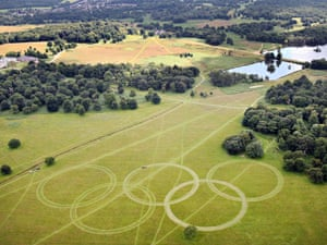 The Olympic rings mown into grass in Richmond Park, visible from planes flying into Heathrow.