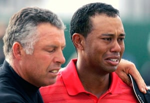 Tearful men: Tiger Woods