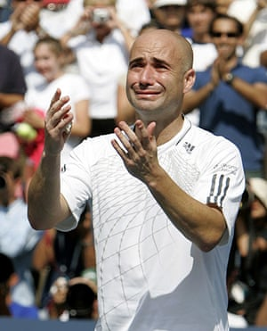 Tearful men: Andre Agassi