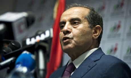Mahmoud Jibril, leader of Libya's National Forces Alliance speaks after the election