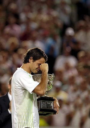 Tearful men: Roger Federer