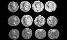 A selection of extracted Roman coins from the Selby hoard, spanning the reigns of various emperors