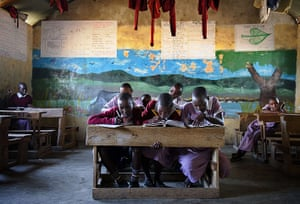 24 hours: Kenya: Masai children study in a classroom at Nkoilale primary school