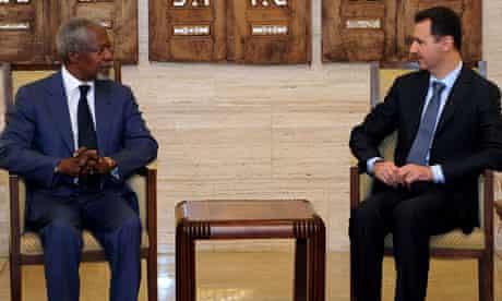 Bashar al-Assad with Kofi Annan in Damascus on 9 July