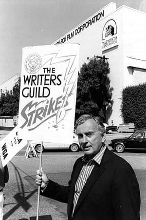 Gore Vidal obituary: 1981: Holding a placard with the slogan The Writers Guild Strikes