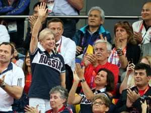 Larisa Latynina waves to the crowd at the London 2012 Olympic artistic gymnastics competition on 31 July 2012. Photograph: Rolf Vennenbernd/EPA