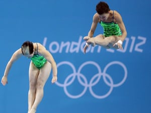Germany's Christin Steuer (right) and Nora Subschinski at the women's synchronised 10m diving on 31 July 2012. Photograph: Michael Kappeler/EPA