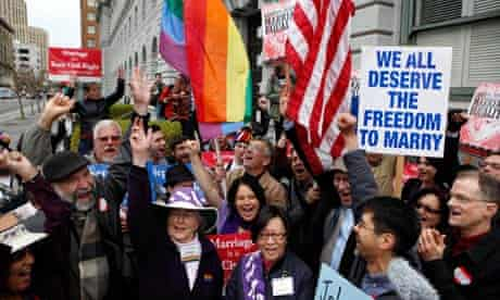 Gay Marriage advocates at a rally in San Francisco earlier this year
