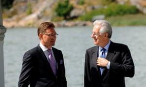 Finland's prime minister Jyrki Katainen  meets his Italian counterpart Mario Monti in Helsinki August 1, 2012.  Photo: Reuters/Mikko Stig/Lehtikuva