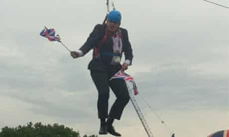 A picture on twitter of Boris on a zipwire, in Victoria park, East London