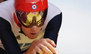 Bradley Wiggins before the start of the men's individual time trial cycling event. Photograph: Matt Rourke/AP
