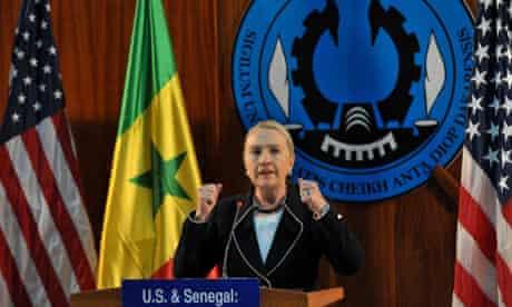 Hillary Clinton speaking at Dakar University in Senegal
