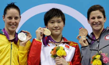 Olympic simmwers Alicia Coutts, Ye Shiwen, Caitlin Leverenz