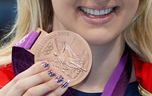 Nail art: Rebecca Adlington of Great Britain with her bronze medal