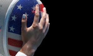 Nail art: Scanlan of the U.S. as she competes against Ukraine's Kryvytska