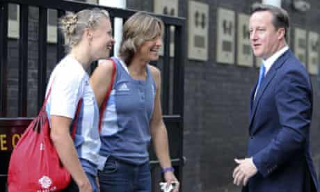 David Cameron talks to double sculls gold medallists Katherine Grainger and Anna Watkins