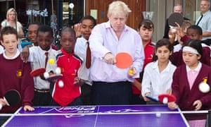 London's Mayor Boris Johnson plays ping pong