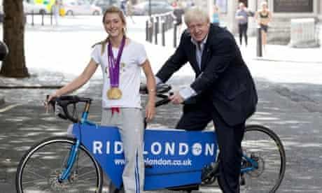 Laura Trott and Boris Johnson at the launch of RideLondon