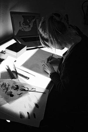High Times: Artist Doris Freigofas works on a lightbox