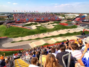 Women's BMX final seen from a spectator position in the stands