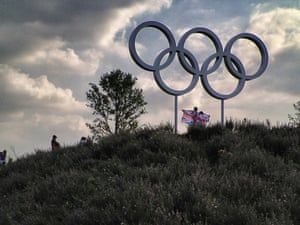 Many spectators queued to have their photos taken with the Olympic rings in the Park Live area.