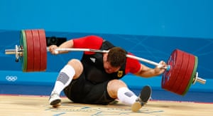 blunders gallery: Germany's Matthias Steiner is injured while his weights fall