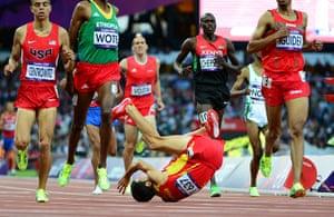 blunders gallery: Spain's Diego Ruiz (C) falls during in t