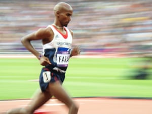 Mo Farah started the mens 5000m at the back of the field.