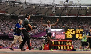 Team GB's Mo Farah celebrating after winning gold in the men's 5000m