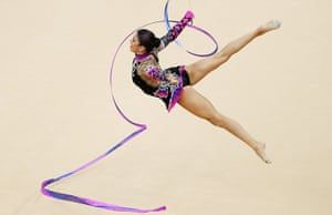 graeme best pics: Carolina Rodriguez from Spain flies in the air at the Rythmic Gymnastics