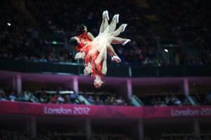 David Levene: A multiple exposure shot of gymnast Wenna He
