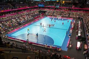 David Levene: General view of the Handball match between Serbia and Croatia