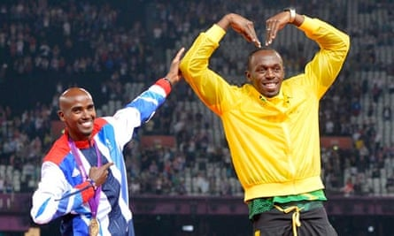 Mo Farah and Usain Bolt celebrate