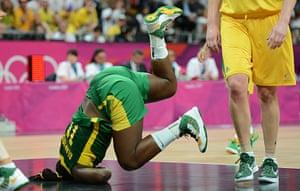 sporty: Brazilian centre Clarissa Santos falls d