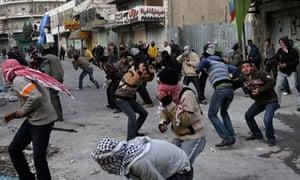 Palestinian demonstrators in Hebron