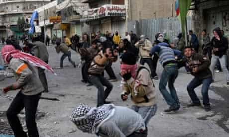 Palestinian demonstrators in Hebron