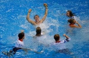 team GB celebrations: Tom Daley celebrates his bronze medal