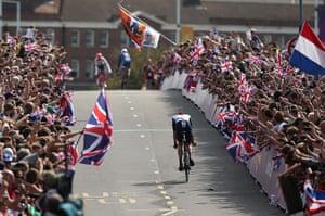 team GB celebrations: The crowd cheer on Bradley Wiggins