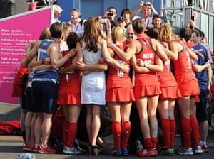 team GB celebrations: The Team GB Women's Hockey team celebrate their bronze