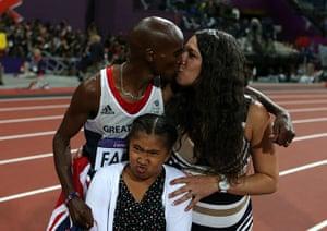 team GB celebrations: Mo Farah celebrates with his wife Tania and daughter Rihanna