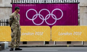 A soldier guards the Olympic volleyball venue in central London