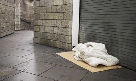 homeless persons bed in London UK
