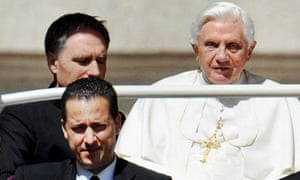 Paolo Gabriele (left front) pictured with Pope Benedict