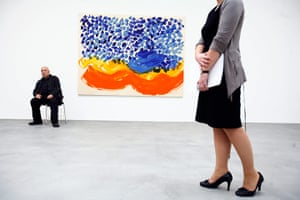 Story of British Art: Howard Hodgkin poses in front of one of his oil on wood painting
