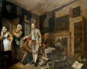 Story of British Art: The Heir from William Hogarth's The Rake's Progress painted in 1735
