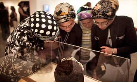 Ultra-Orthodox Jewish women at the A World Apart Next Door exhibition in Jerusalem