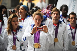 Olympians return home: French olympiads with their gold medals at St. Pancras