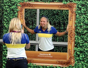 Olympiads return home: Athletes and Coaches form Sweden at the Games Terminal at Heathrow Airport