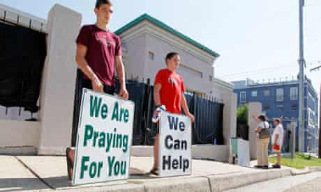Anti-abortion campaigners stand outside Mississippi's only abortion clinic.